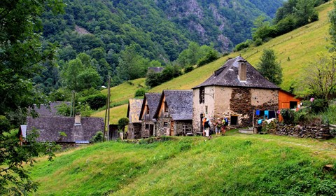 traditional hamlet mountain trekking holiday french pyrenees europe